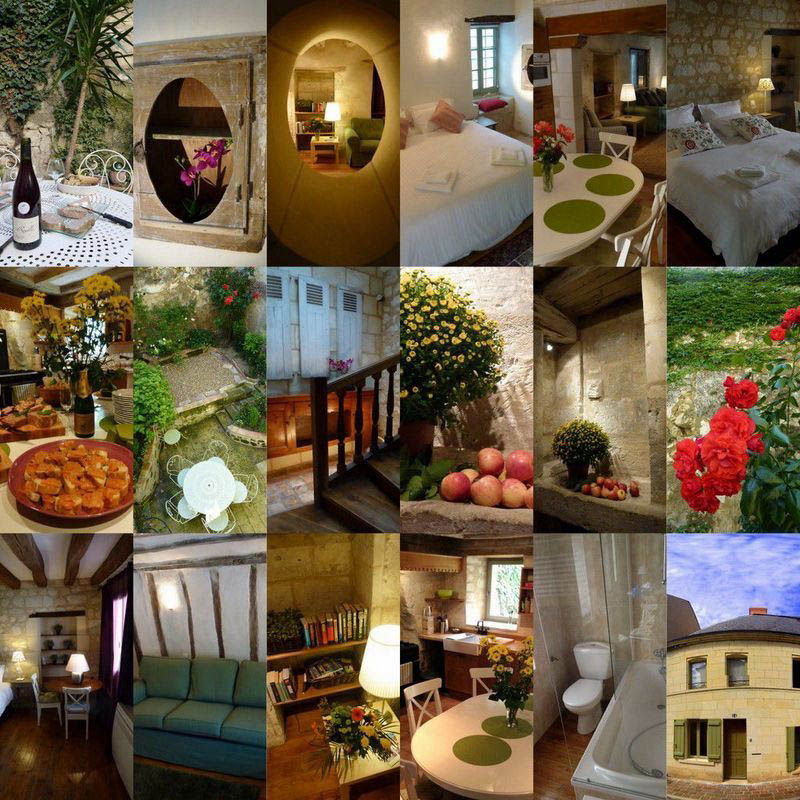 A collage of images showing how beautiful our cottage in France are to stay in