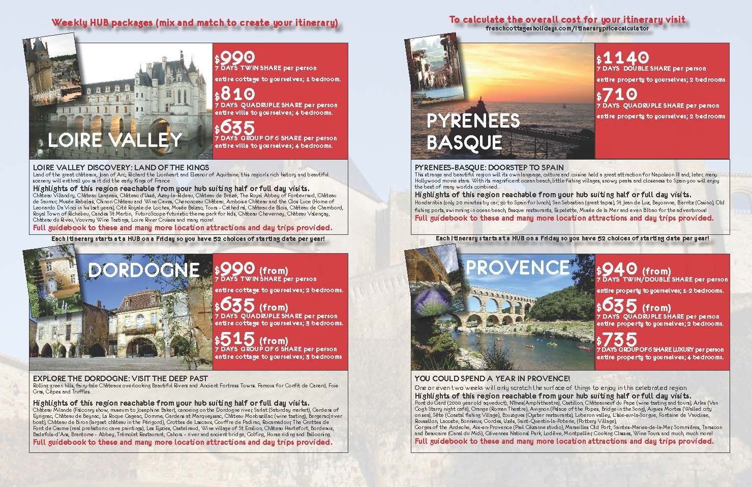Customise your own France Holiday experience by mixing and matching our various cottages and regions